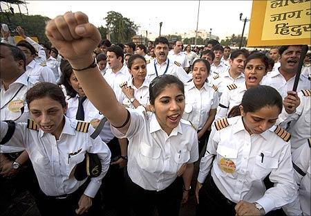 Air India pilots during a strike.
