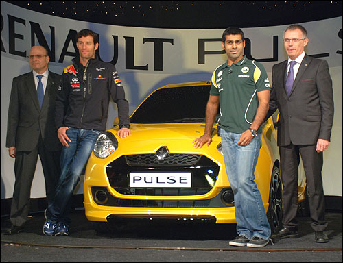 Left-Right: Marc_Nassif MD Renault India, Mark Vebber F1 Driver Red Bull, Karun Chandok F1 Driver Team Lotus, Carlos Taveras COO Renault.