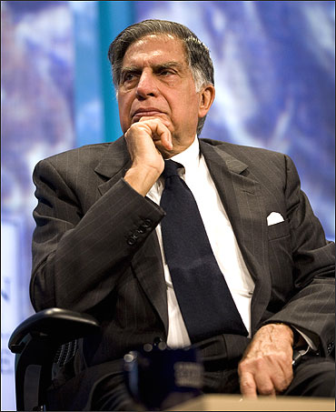 Ratan Tata listens during a panel discussion in New York City.
