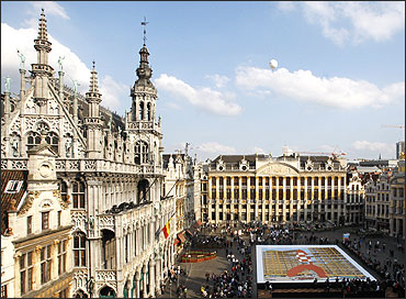 A more than 500 square meter comic strip board showing Tintin's rocket displayed at Brussels' Grand Place.