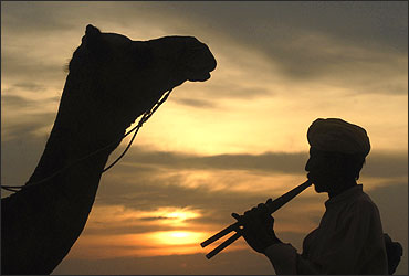 A villager plays flute as he is silhouetted against the setting sun over the Thar Desert.