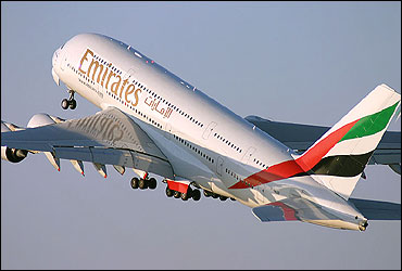 Emirates plane takes off.