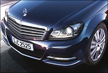 The front grille and logo of Merc C class.