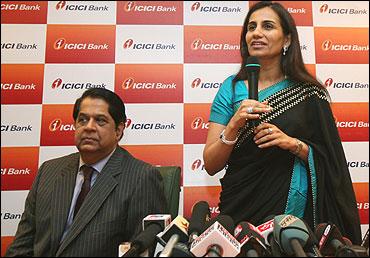 Ex-CEO of ICICI Bank K V Kamath with Chanda Kochhar.