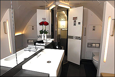 The first class restroom of the Lufthansa Airbus A380.