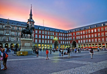Madrid square at dawn.