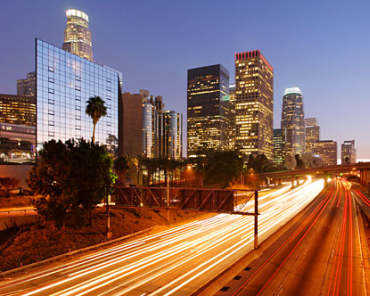 Share of renewable energy is rising. A view of Los Angeles highway.