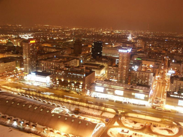 Warsaw dazzles at night.