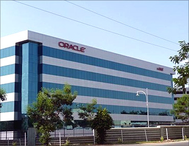 Oracle saw four per cent rise in revenue.
