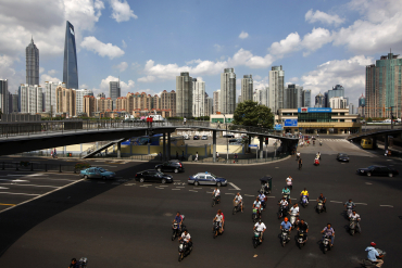 A view of the centre of Shanghai near the Pudong Lujiazui financial area.