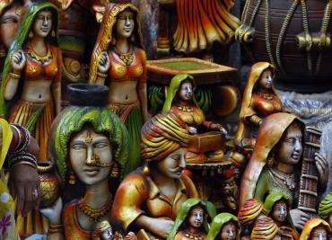 A stall at 22nd Surajkund Crafts Fair in Haryana.