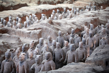 Terracotta warriors stand inside the pit of the Museum of Qin Terracotta Warriors and Horses in Xi'an, Shaanxi province.