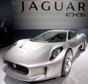 The Jaguar C-X75 concept car is displayed on media day at the Paris Mondial de l'Automobile.