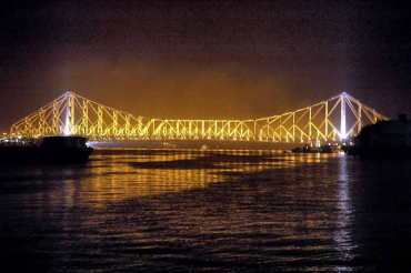 Howrah Bridge under the lights in Kolkata.