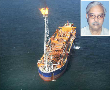 The Reliance Industries rig off the Andhra Pradesh coast in the KG Basin. (Inset) CPI(M) Rajya Sabha Tapan Sen.