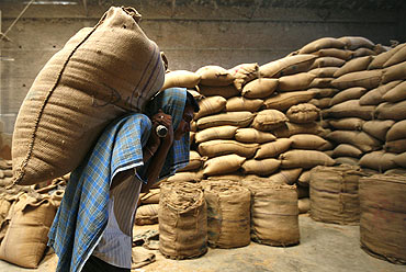 A labourer carries a sack of wheat inside a grain-sorting unit at Sanand.