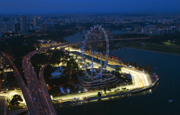 An aerial view shows a section of the illuminated Marina Bay street circuit of the Singapore Formula One Grand Prix.