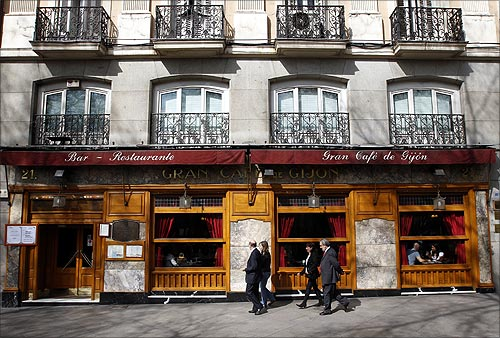 A general view shows the exterior of Spain's historic Cafe Gijon in Madrid.
