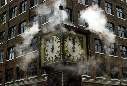 The Gastown Steam Clock marks the noon hour in Vancouver.