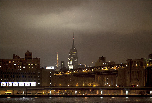 The Empire State Building is seen with its lights turned off in participation with Earth Hour in New York.