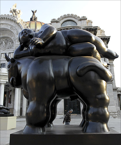 Colombian painter and sculptor Fernando Botero's bronze El Rapto De Europa sculpture in Mexico.