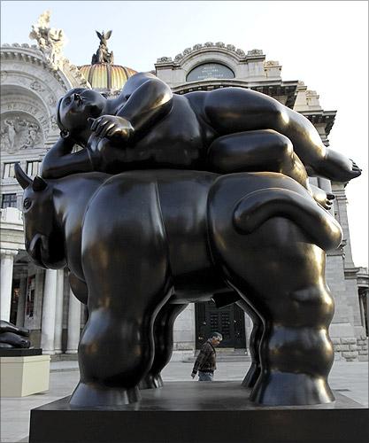 Colombian painter and sculptor Fernando Botero's bronze El Rapto De Europa sculpture in Mexico.