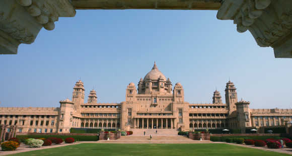 A view of the Umaid Bhawan Palace in Jodhpur, Rajasthan.