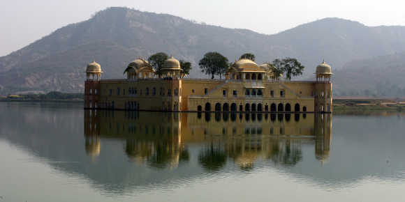 A view of the 'Jal Mahal' also known as 'Water Palace' in Jaipur, Rajasthan. The Jal Mahal was built by Sawai Pratap Singh in 1799 AD in the midst of the Man Sagar Lake and the lake was formed by constructing a dam between the two hills.