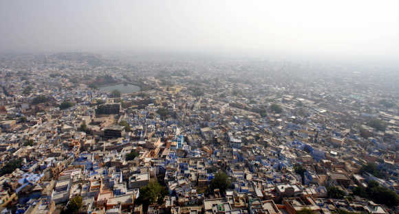 A  view of the historic town of Jodhpur is seen from the Meharangarh Fort in Rajasthan.