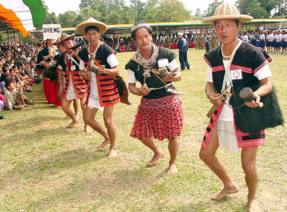 Tribesmen from the Idu-Mishmi community perform a tribal dance during the Statehood Festival in Motum village in Arunachal Pradesh.