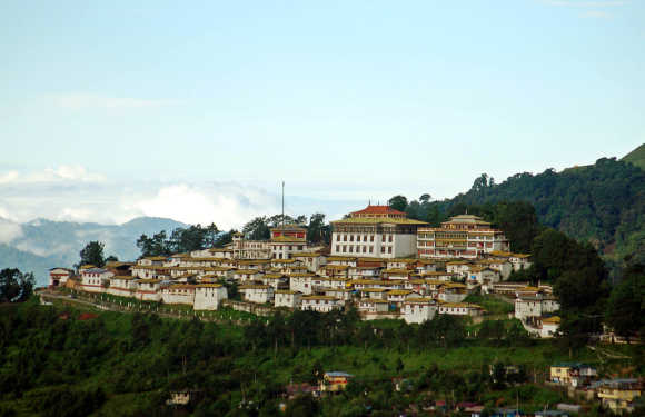 An aerial view shows the Tawang monastery in Arunachal Pradesh near the border with China.