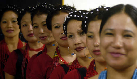 Dancers from Arunachal Pradesh wait to perform at a cultural show in Agartala, capital of Tripura.