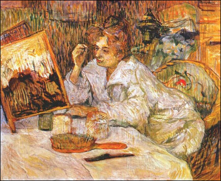 An 1889 Henri de Toulouse-Lautrec painting of a woman applying cosmetics to her face.