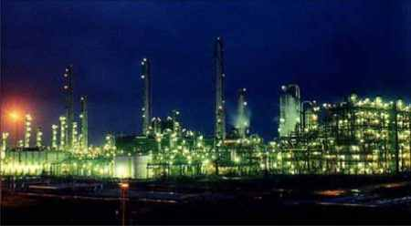 Haldia Petrochemicals plant at night.