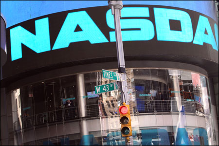 The Nasdaq stock market at Times Square.