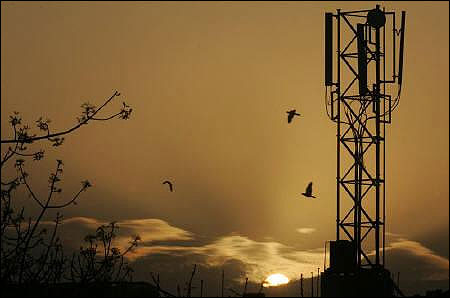 The sun rises behind a communications tower in New Delhi.