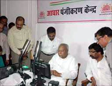 Governor of Jharkhand, M O H Farook Enrois gets Aadhaar card in Ranchi.