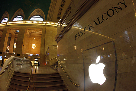 Apple Inc. logo is seen on the steps of the East Balcony leading to the Apple store in New York City's Grand Central Station.