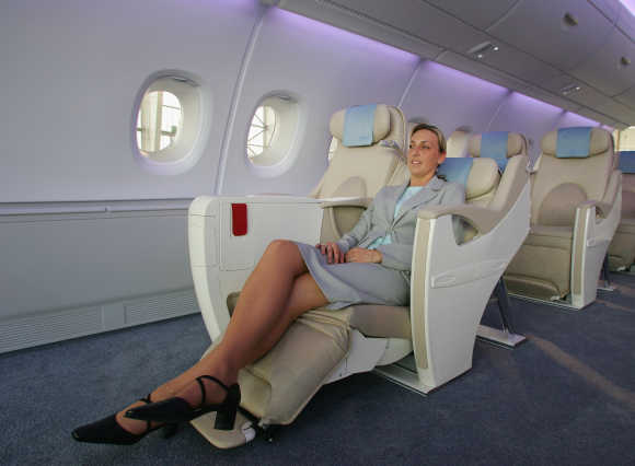 Airbus Industrie, part of the European Aeronautic Defence and Space Company, displays the business-class interior on the A380 in Hamburg, Germany.