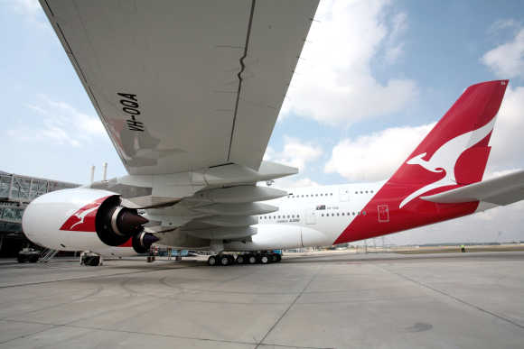 An Airbus is parked at the EADS factory Toulouse, France, before flying via Singapore to Sydney.