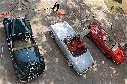 Roadster cars are on display in Mumbai.