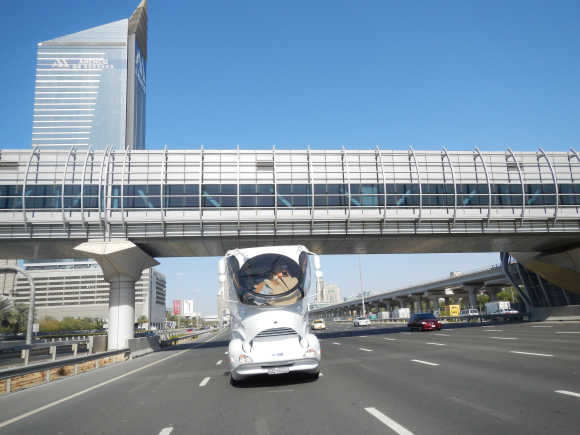 Elemment Palazzo, the new motorhome launched by Marchi Mobile, cruises on Dubai's Shaikh Zayed Road.