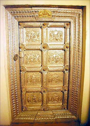A door inside Mysore Palace.