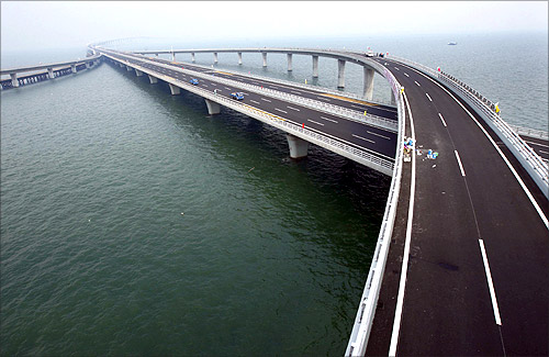 Qingdao Jiaozhou Bay Bridge is seen in Qingdao, Shandong province.