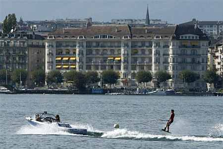 A wakeboarder performs on Lake Leman in Geneva