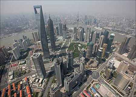 Shanghai's financial district skyline along the Huang Pu river