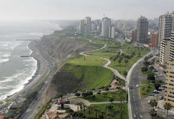 Aerial view of Peru's capital Lima.