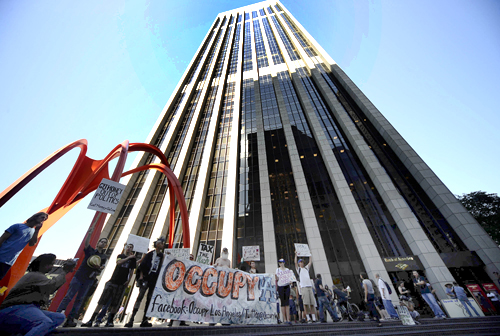 Occupy LA protesters stage a rally in front of the Bank of America building in downtown Los Angeles.