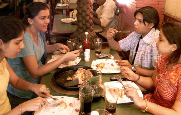 Indians spend just 20 per cent on eating out.