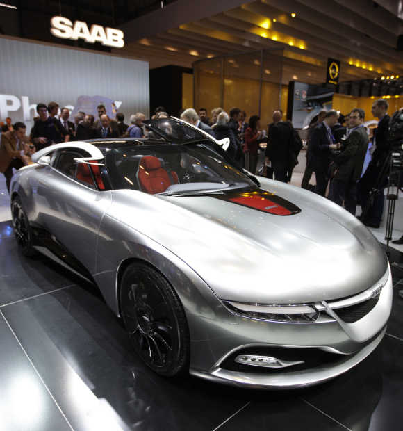 The Saab Phoenix concept car is displayed at Geneva Car Show.